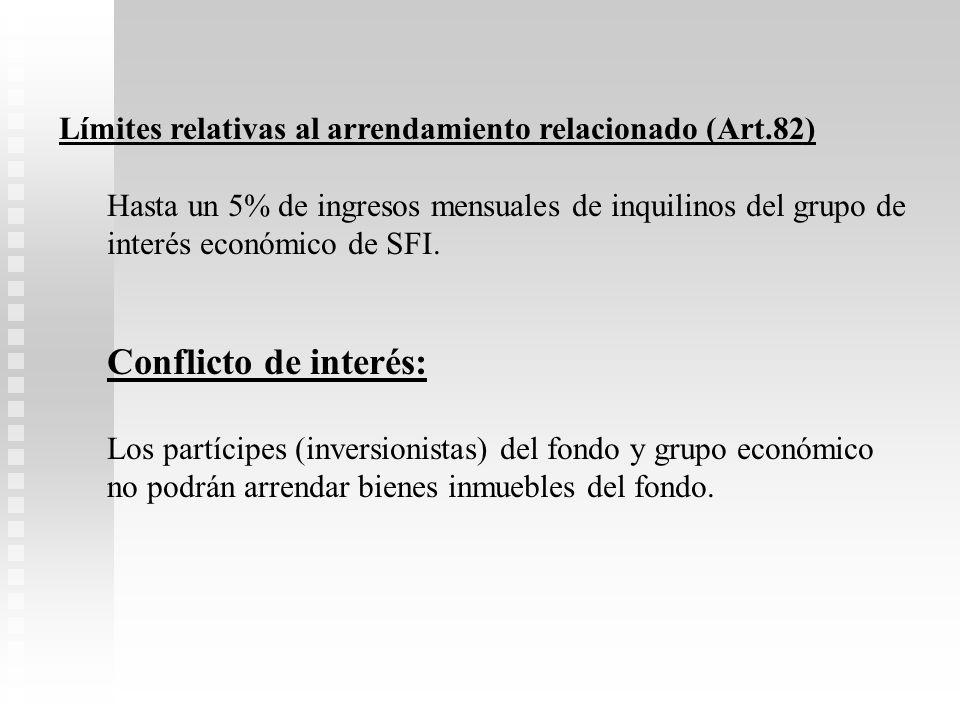 Límites relativas al arrendamiento relacionado (Art.82)