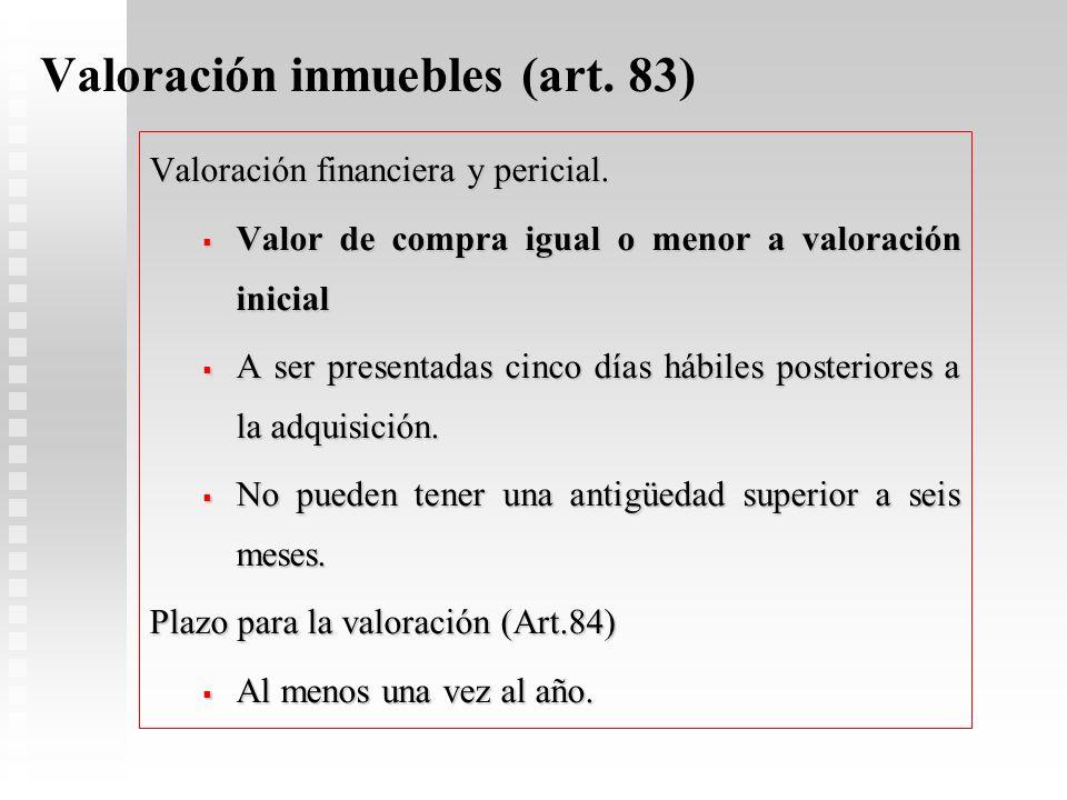 Valoración inmuebles (art. 83)