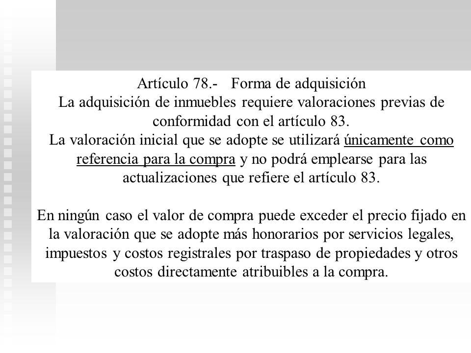 Artículo 78.- Forma de adquisición