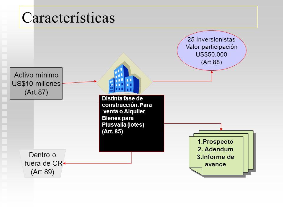 Características Activo mínimo US$10 millones (Art.87) Dentro o