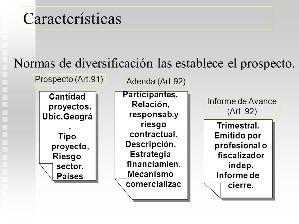 Características Normas de diversificación las establece el prospecto.