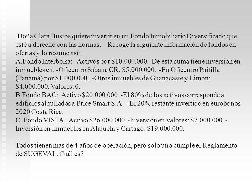 Doña Clara Bustos quiere invertir en un Fondo Inmobiliario Diversificado que esté a derecho con las normas. Recoge la siguiente información de fondos en ofertas y lo resume así: