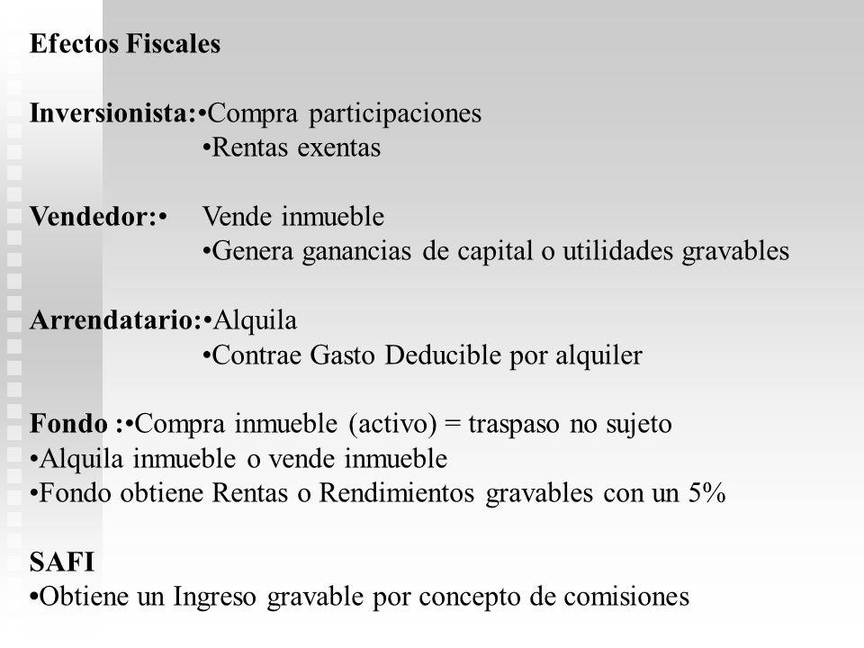 Efectos Fiscales Inversionista:•Compra participaciones. •Rentas exentas. Vendedor:• Vende inmueble.