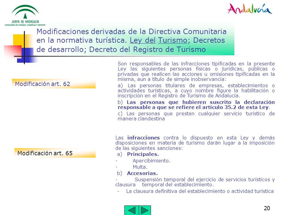 Modificaciones derivadas de la Directiva Comunitaria en la normativa turística. Ley del Turismo; Decretos de desarrollo; Decreto del Registro de Turismo