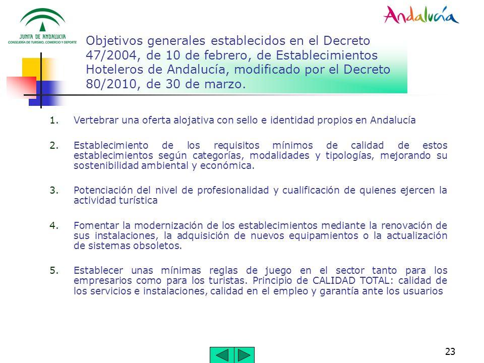 Objetivos generales establecidos en el Decreto 47/2004, de 10 de febrero, de Establecimientos Hoteleros de Andalucía, modificado por el Decreto 80/2010, de 30 de marzo.