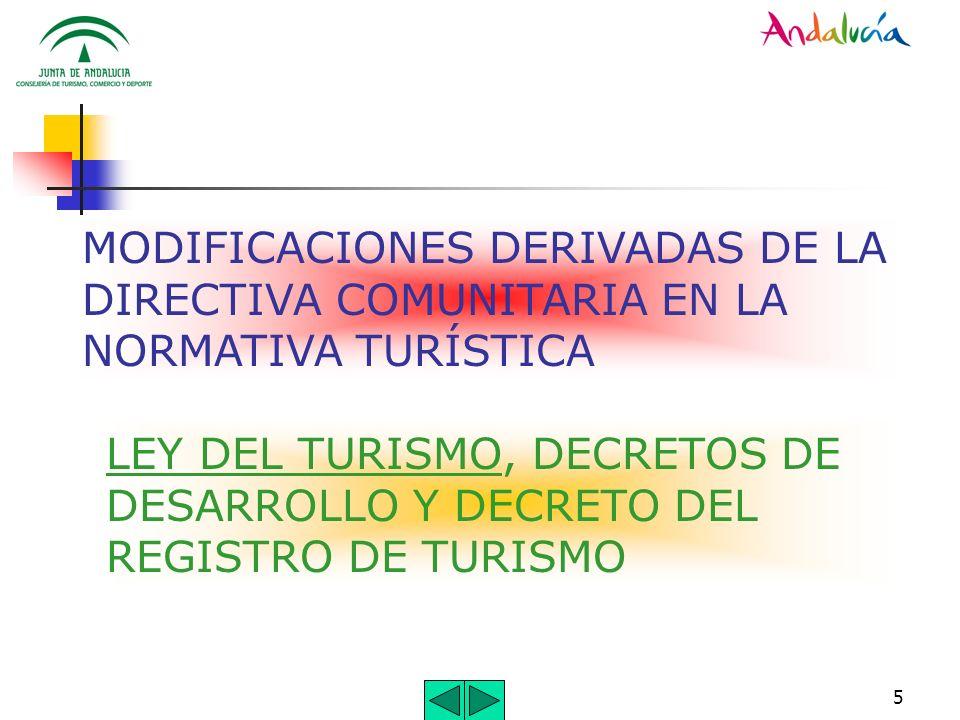 MODIFICACIONES DERIVADAS DE LA DIRECTIVA COMUNITARIA EN LA NORMATIVA TURÍSTICA