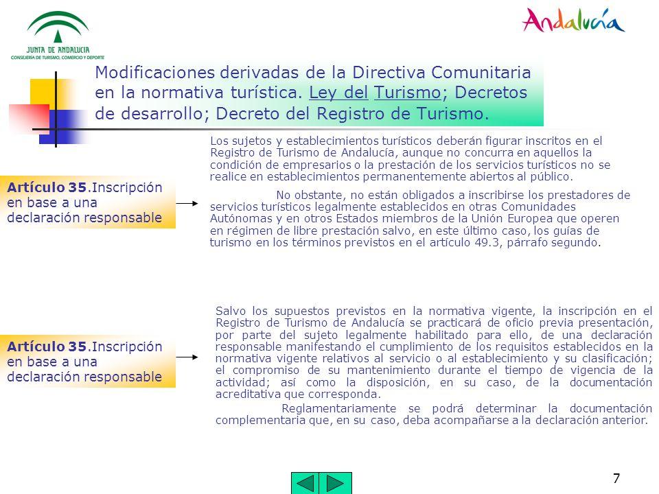 Modificaciones derivadas de la Directiva Comunitaria en la normativa turística. Ley del Turismo; Decretos de desarrollo; Decreto del Registro de Turismo.