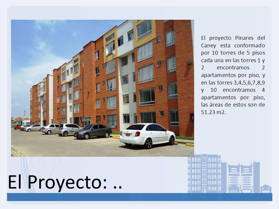 El proyecto Pinares del Caney esta conformado por 10 torres de 5 pisos cada una en las torres 1 y 2 encontramos 2 apartamentos por piso, y en las torres 3,4,5,6,7,8,9 y 10 encontramos 4 apartamentos por piso, las áreas de estos son de 51.23 m2.