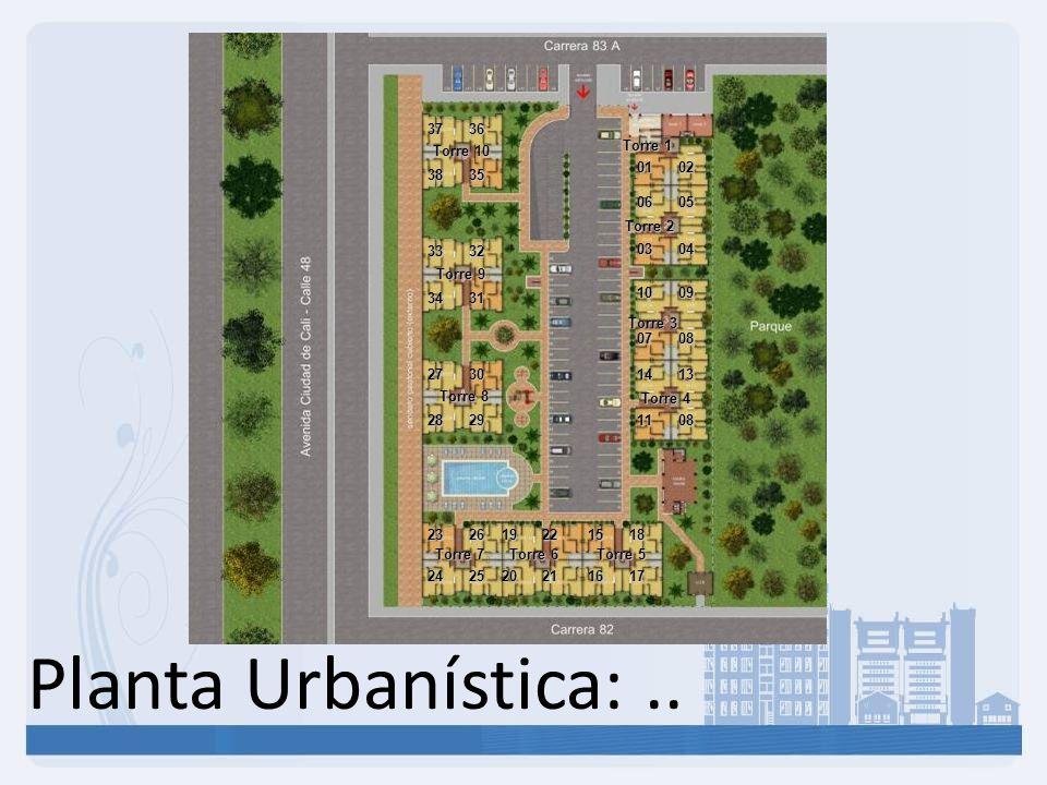 Planta Urbanística: .. Torre 1 Torre 2 Torre 3 Torre 4 Torre 5 Torre 6