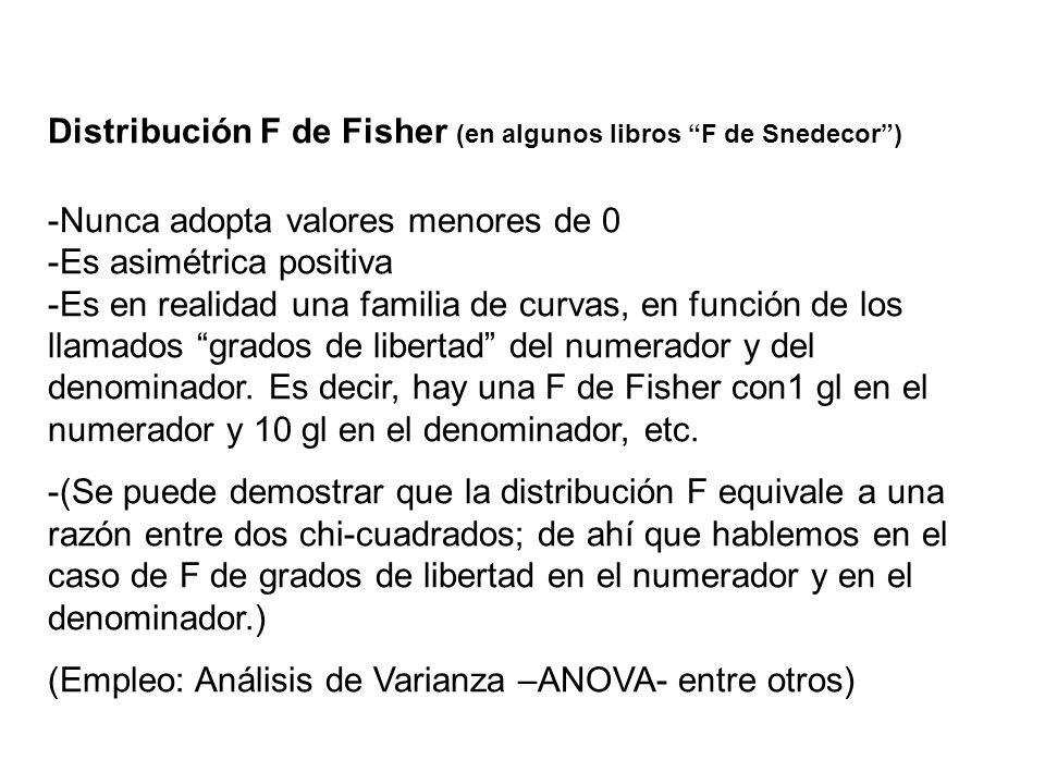 Distribución F de Fisher (en algunos libros F de Snedecor )