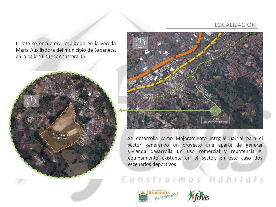 LOCALIZACIONEl lote se encuentra localizado en la vereda María Auxiliadora del municipio de Sabaneta, en la calle 56 sur con carrera 35.