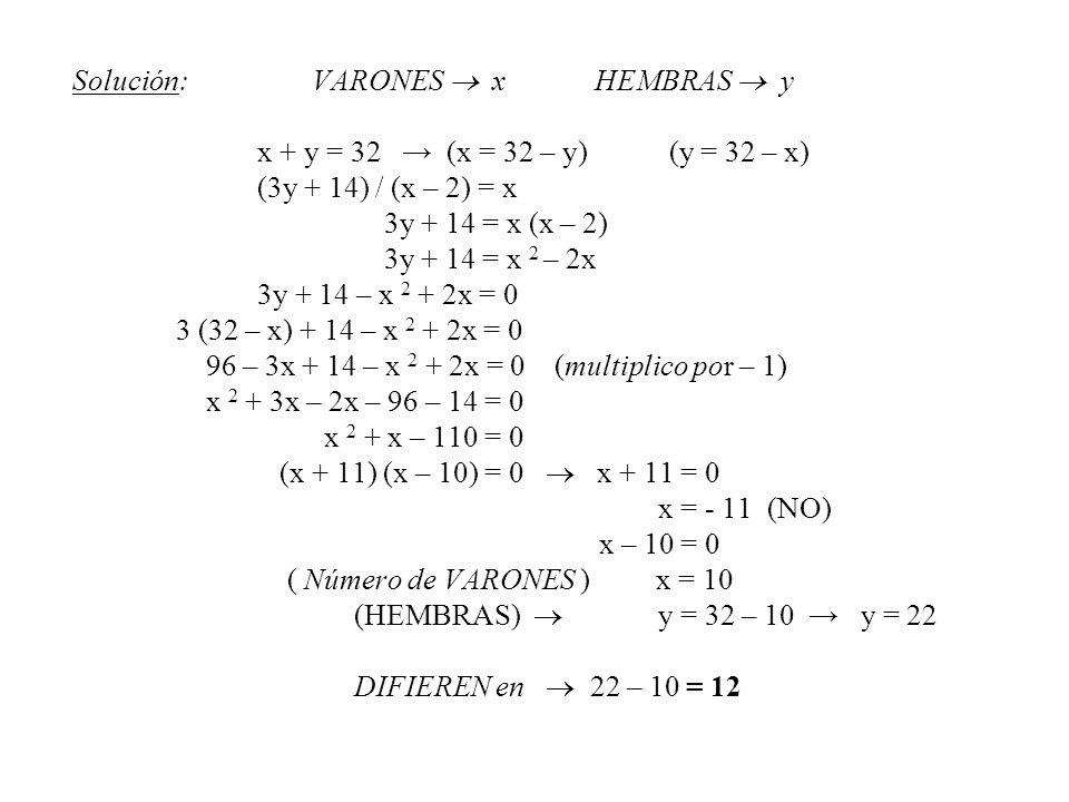 Solución: VARONES  x HEMBRAS  y