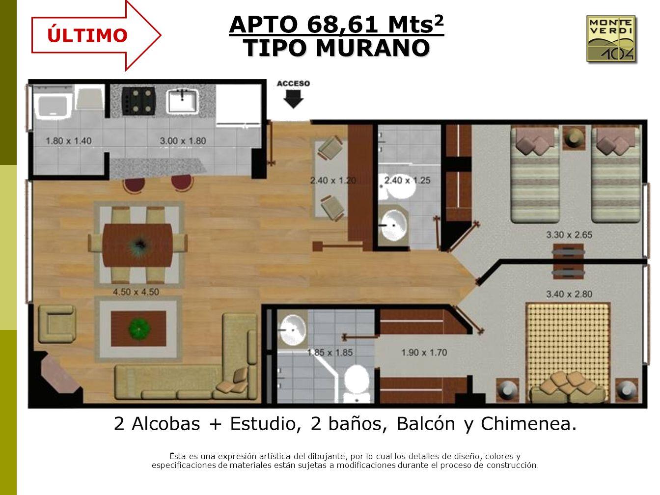2 Alcobas + Estudio, 2 baños, Balcón y Chimenea.