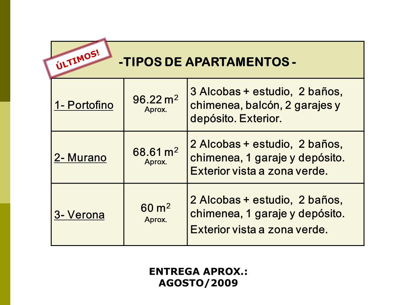 -TIPOS DE APARTAMENTOS - ENTREGA APROX.: AGOSTO/2009