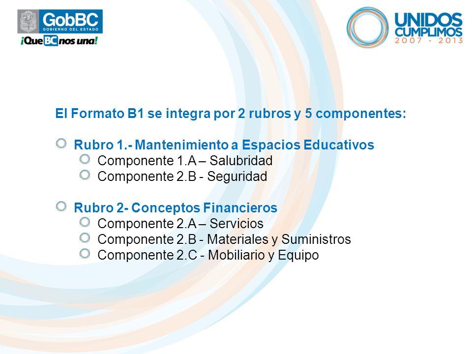 El Formato B1 se integra por 2 rubros y 5 componentes: