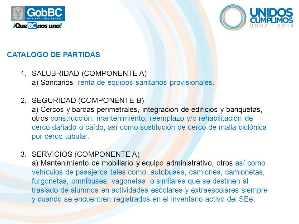 CATALOGO DE PARTIDAS SALUBRIDAD (COMPONENTE A) a) Sanitarios renta de equipos sanitarios provisionales.