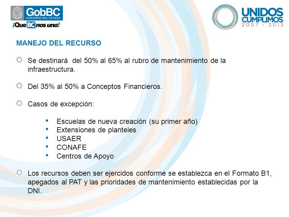 MANEJO DEL RECURSO Se destinará del 50% al 65% al rubro de mantenimiento de la infraestructura. Del 35% al 50% a Conceptos Financieros.