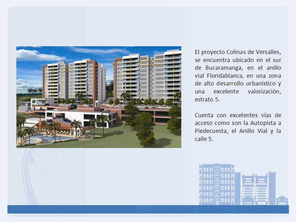 El proyecto Colinas de Versalles, se encuentra ubicado en el sur de Bucaramanga, en el anillo vial Floridablanca, en una zona de alto desarrollo urbanístico y una excelente valorización, estrato 5.