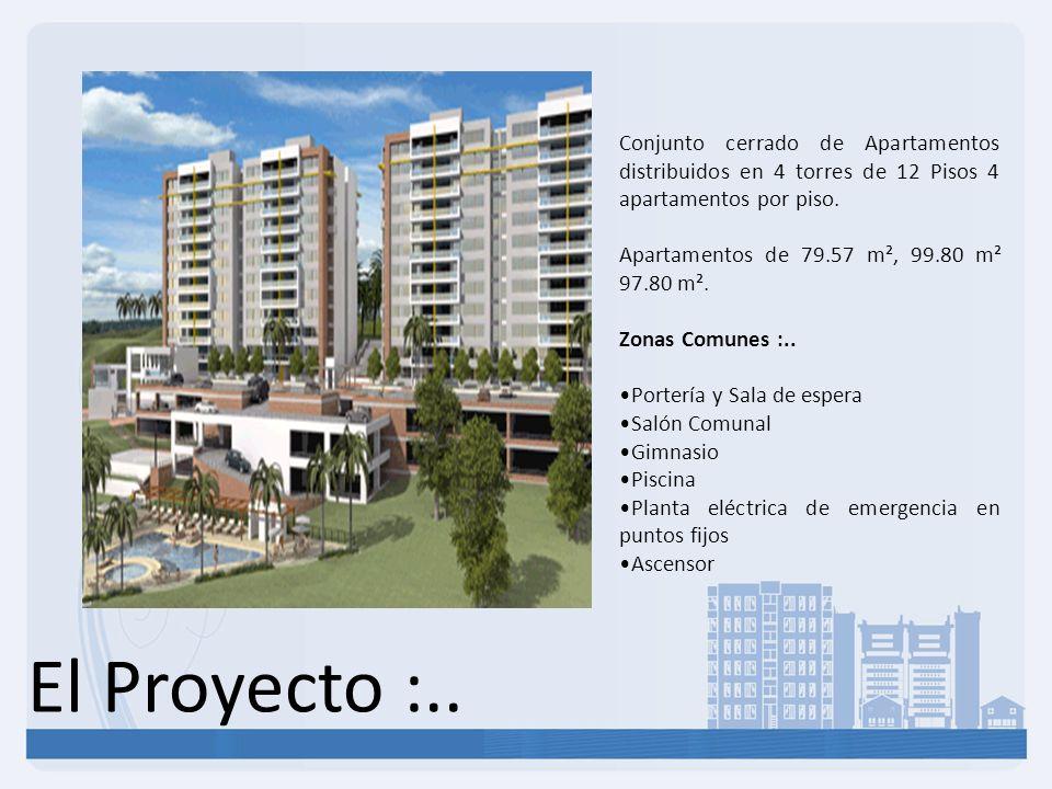 Conjunto cerrado de Apartamentos distribuidos en 4 torres de 12 Pisos 4 apartamentos por piso.