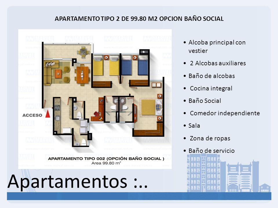 APARTAMENTO TIPO 2 DE 99.80 M2 OPCION BAÑO SOCIAL