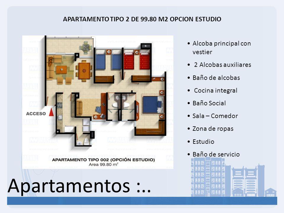 APARTAMENTO TIPO 2 DE 99.80 M2 OPCION ESTUDIO