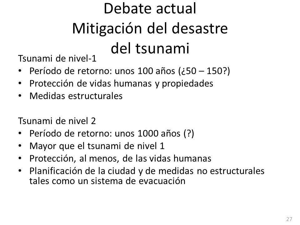 Debate actual Mitigación del desastre del tsunami