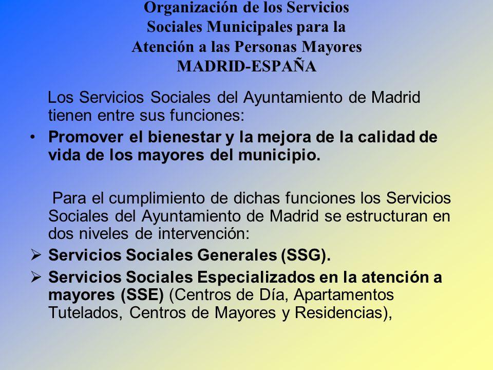 Organización de los Servicios Sociales Municipales para la Atención a las Personas Mayores MADRID-ESPAÑA