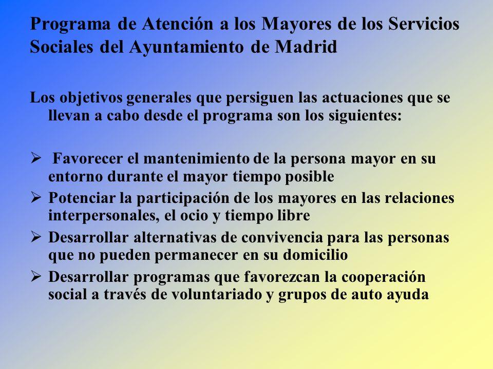 Programa de Atención a los Mayores de los Servicios Sociales del Ayuntamiento de Madrid