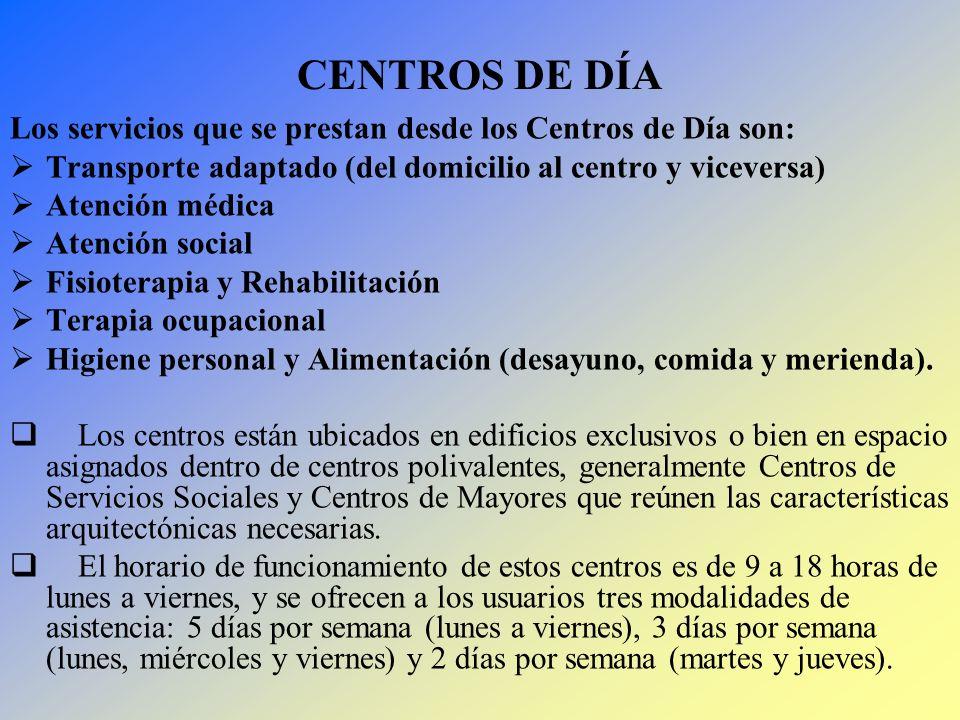 CENTROS DE DÍA Los servicios que se prestan desde los Centros de Día son: Transporte adaptado (del domicilio al centro y viceversa)