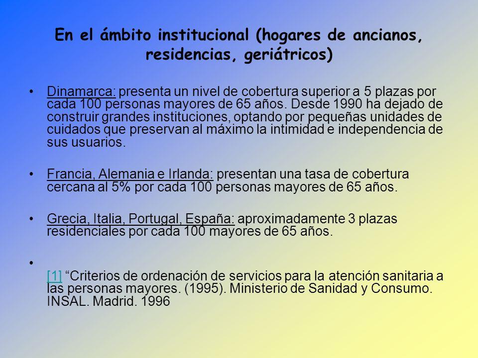 En el ámbito institucional (hogares de ancianos, residencias, geriátricos)