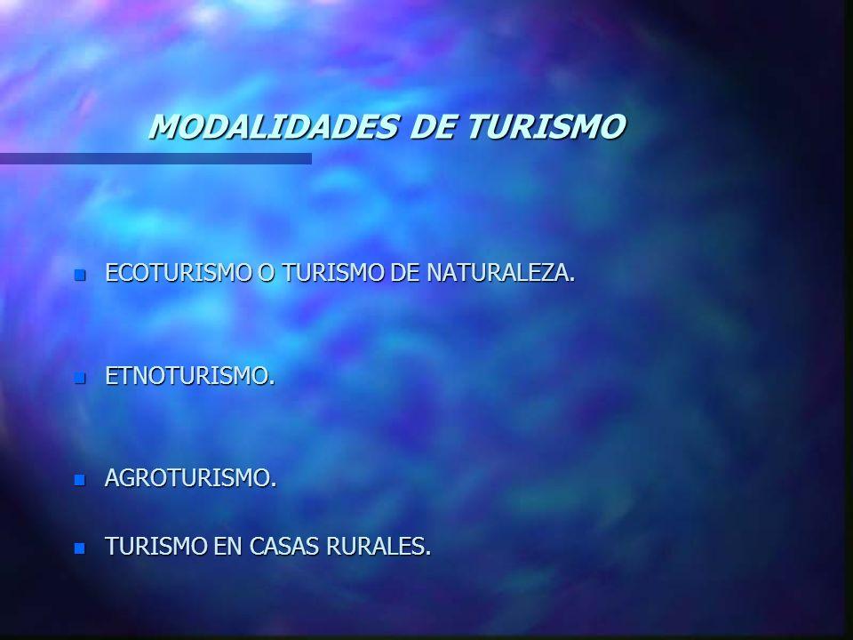 MODALIDADES DE TURISMO