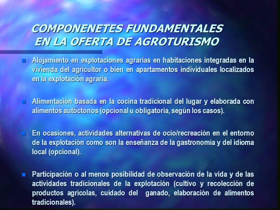 COMPONENETES FUNDAMENTALES EN LA OFERTA DE AGROTURISMO
