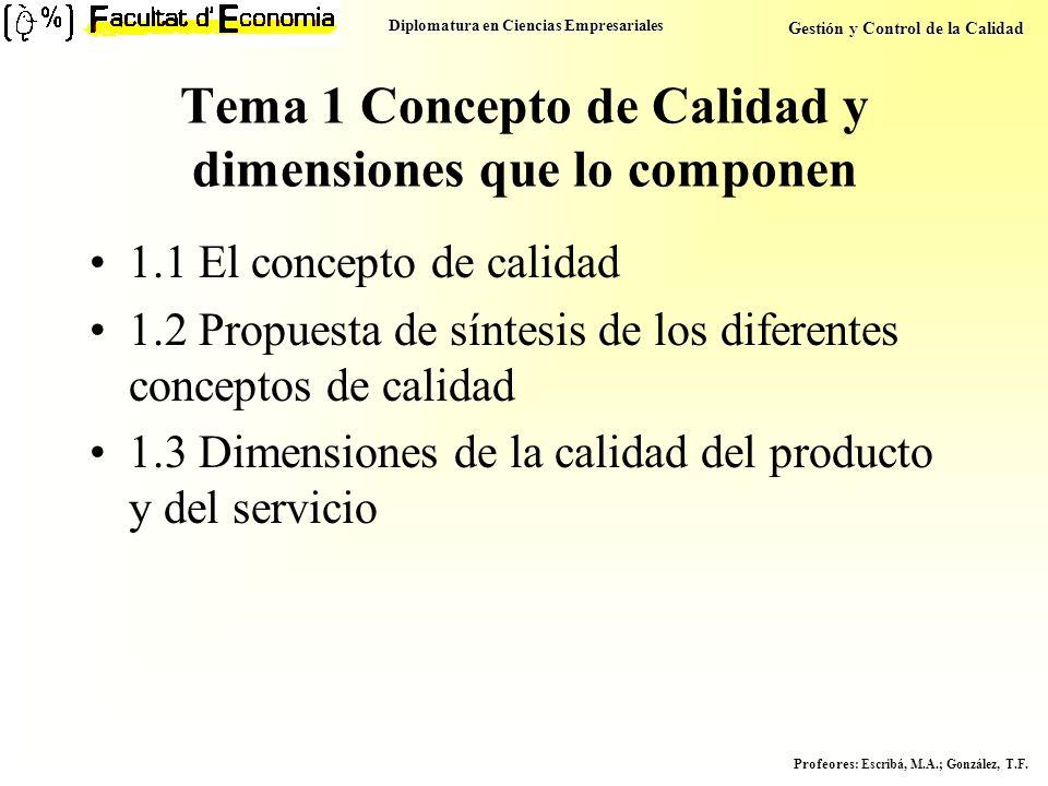 Tema 1 Concepto de Calidad y dimensiones que lo componen