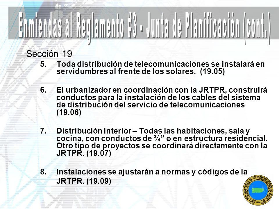 Enmiendas al Reglamento #3 - Junta de Planificación (cont.)