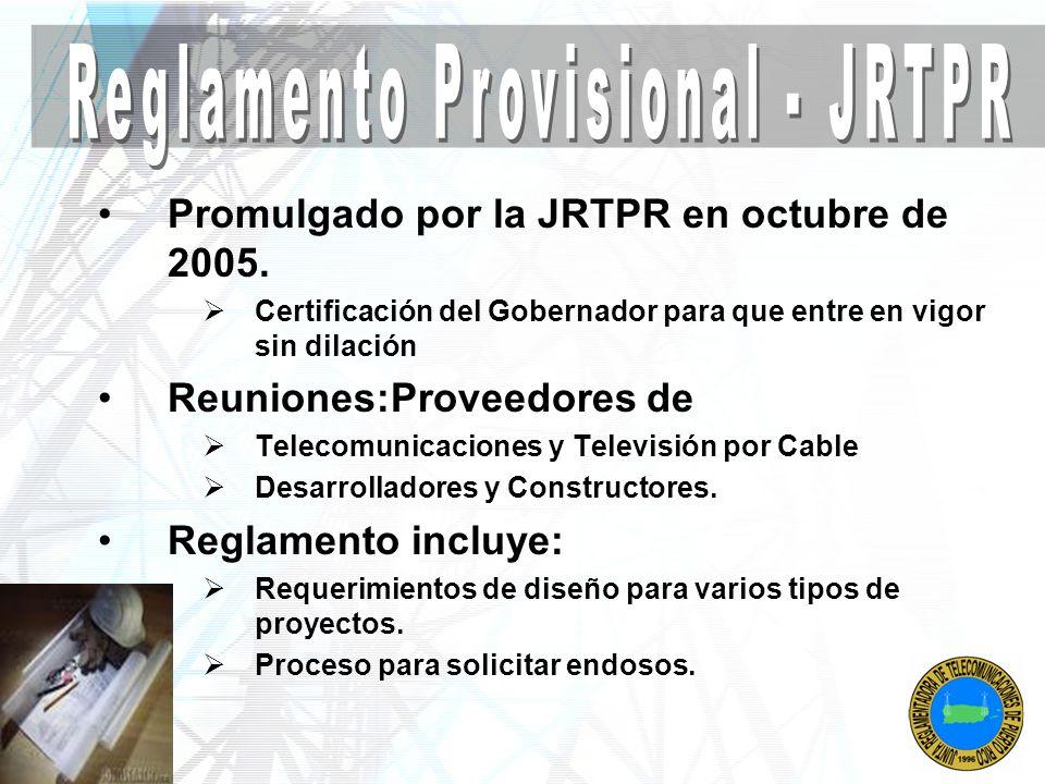 Reglamento Provisional - JRTPR
