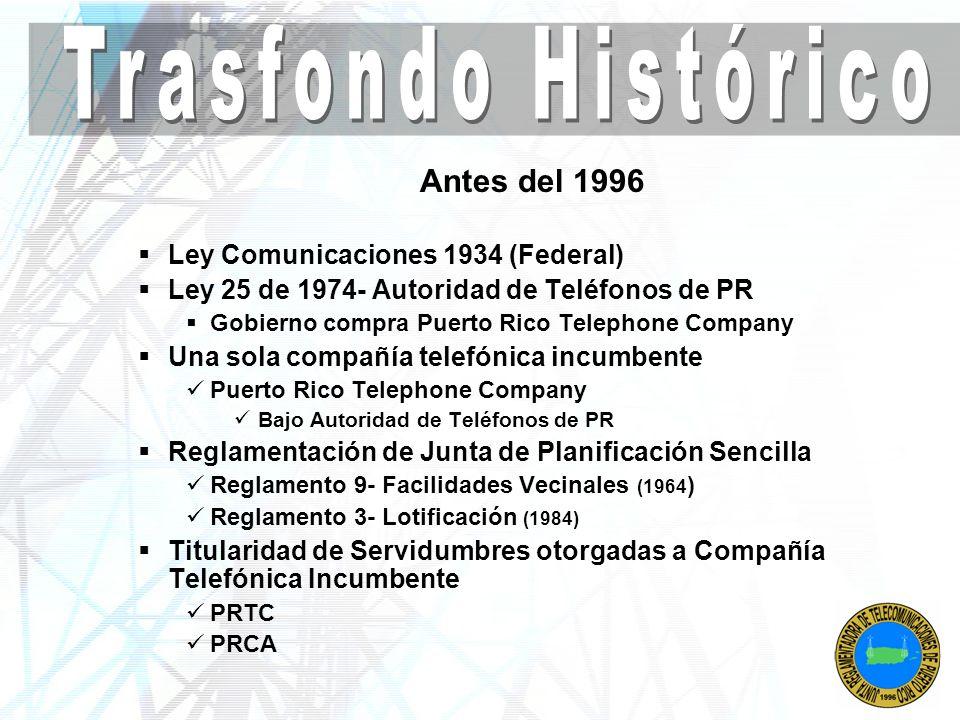 Trasfondo Histórico Antes del 1996 Ley Comunicaciones 1934 (Federal)