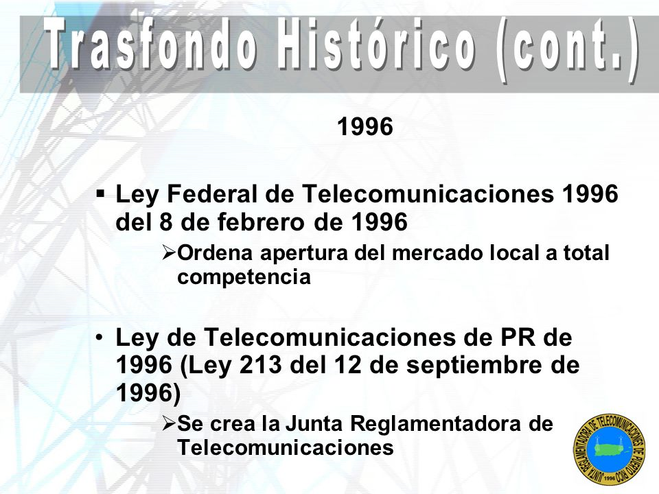 Trasfondo Histórico (cont.)