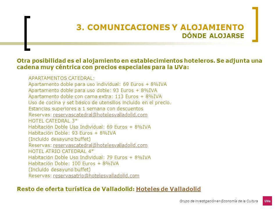 3. COMUNICACIONES Y ALOJAMIENTO DÓNDE ALOJARSE