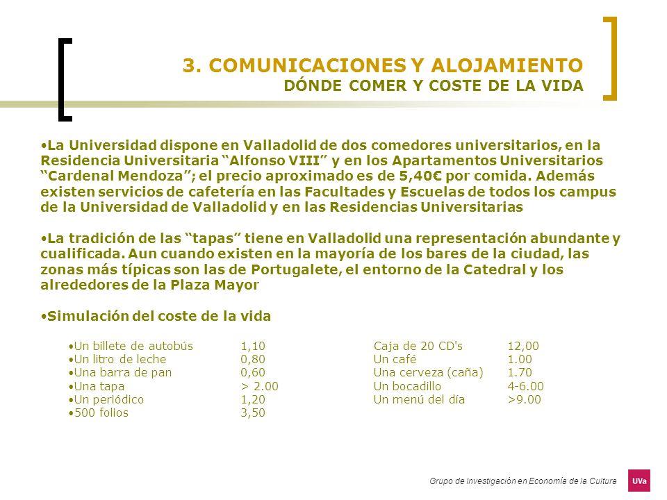 3. COMUNICACIONES Y ALOJAMIENTO DÓNDE COMER Y COSTE DE LA VIDA