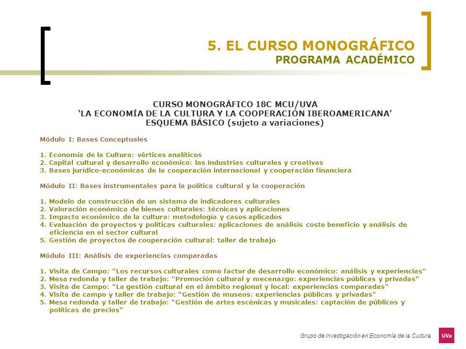 5. EL CURSO MONOGRÁFICO PROGRAMA ACADÉMICO