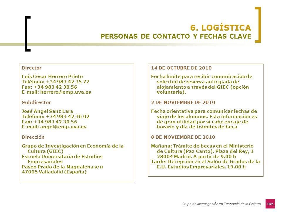 6. LOGÍSTICA PERSONAS DE CONTACTO Y FECHAS CLAVE