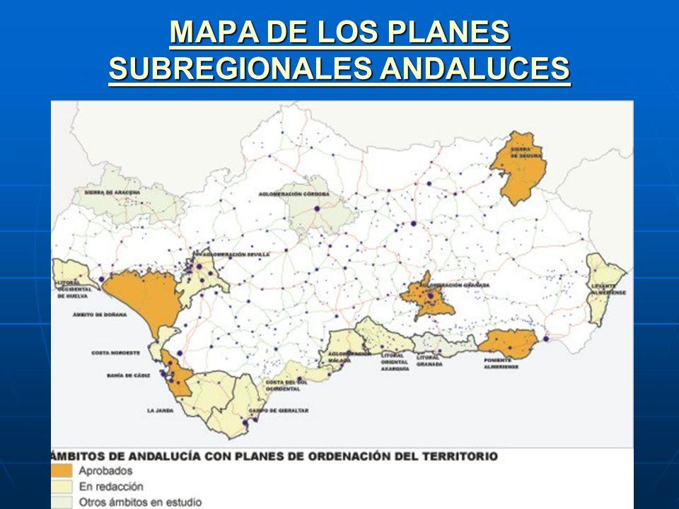 MAPA DE LOS PLANES SUBREGIONALES ANDALUCES