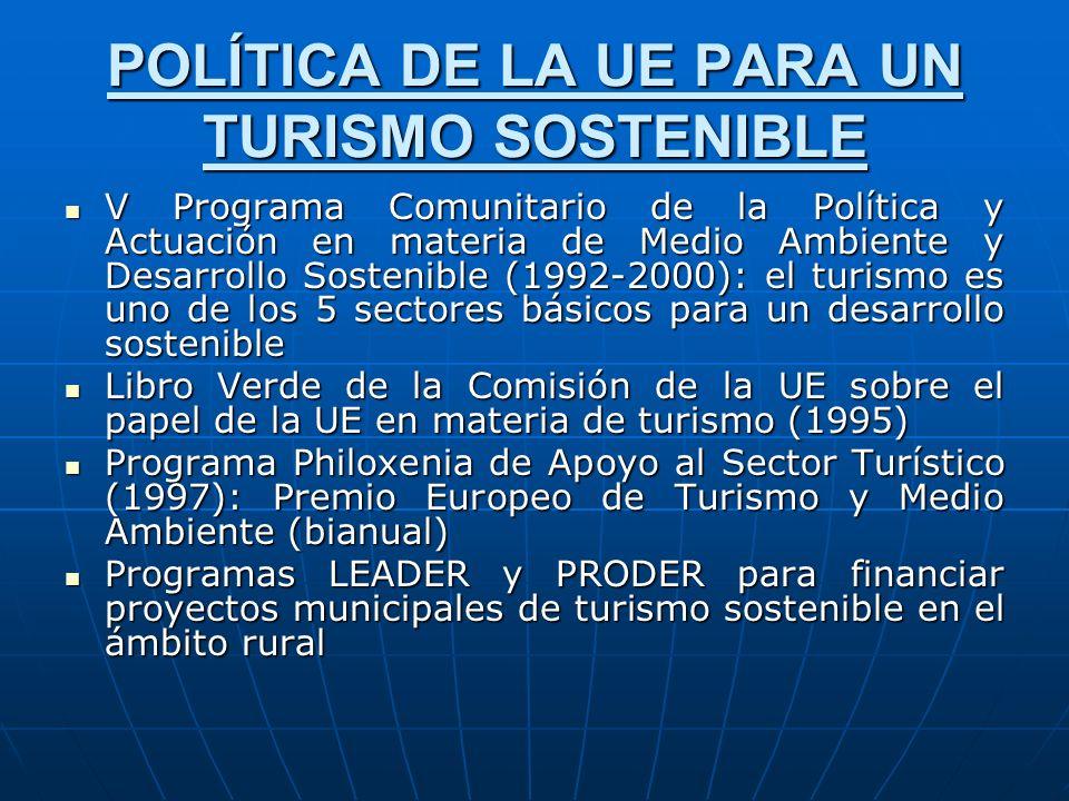 POLÍTICA DE LA UE PARA UN TURISMO SOSTENIBLE