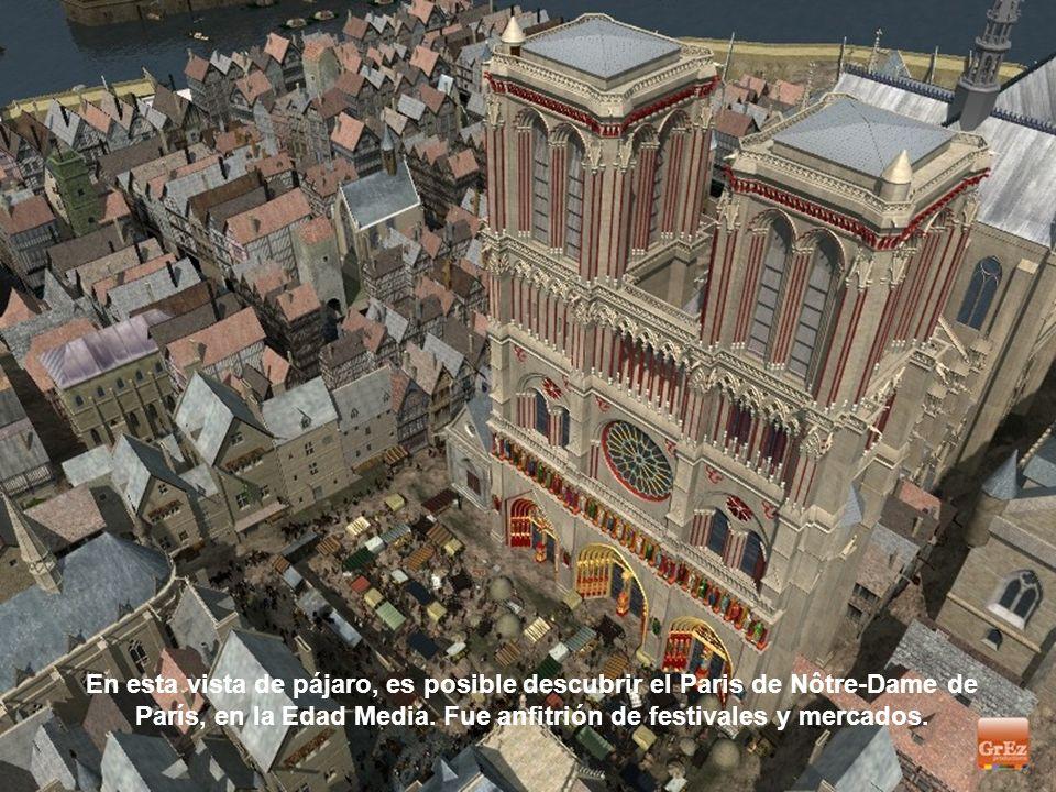 En esta vista de pájaro, es posible descubrir el Paris de Nôtre-Dame de París, en la Edad Media.