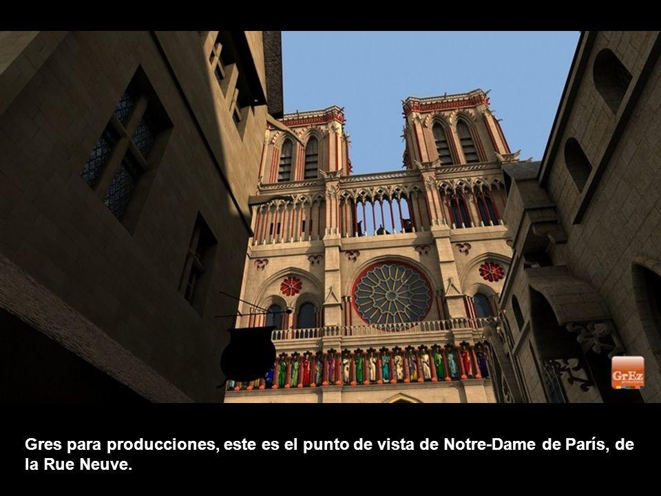 Gres para producciones, este es el punto de vista de Notre-Dame de París, de la Rue Neuve.