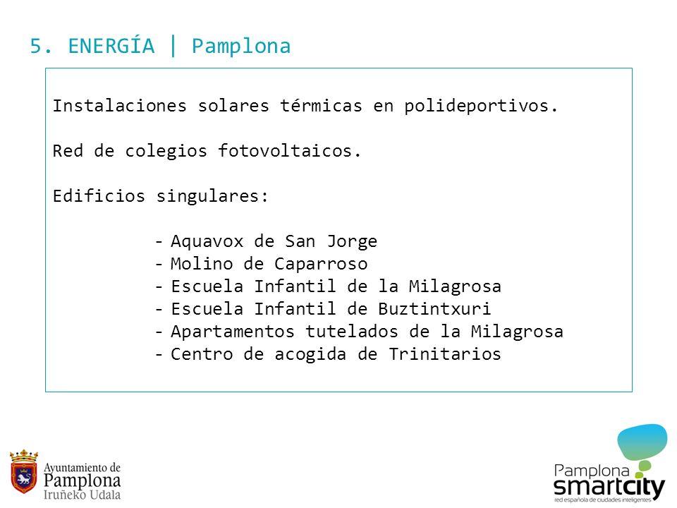 5. ENERGÍA | Pamplona Instalaciones solares térmicas en polideportivos. Red de colegios fotovoltaicos.
