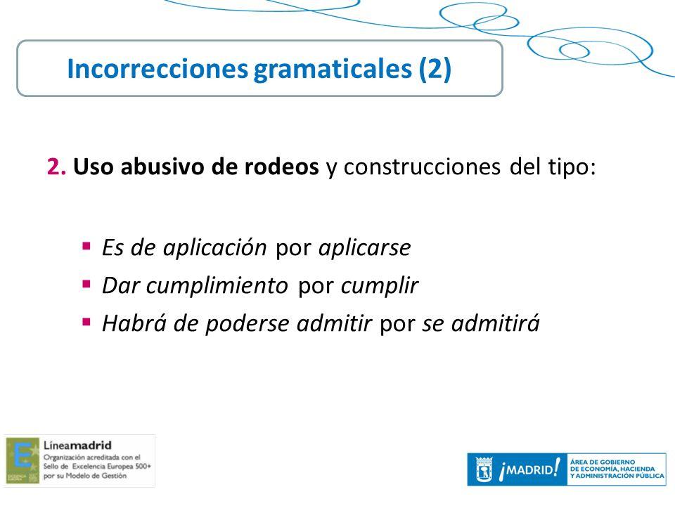 Incorrecciones gramaticales (2)