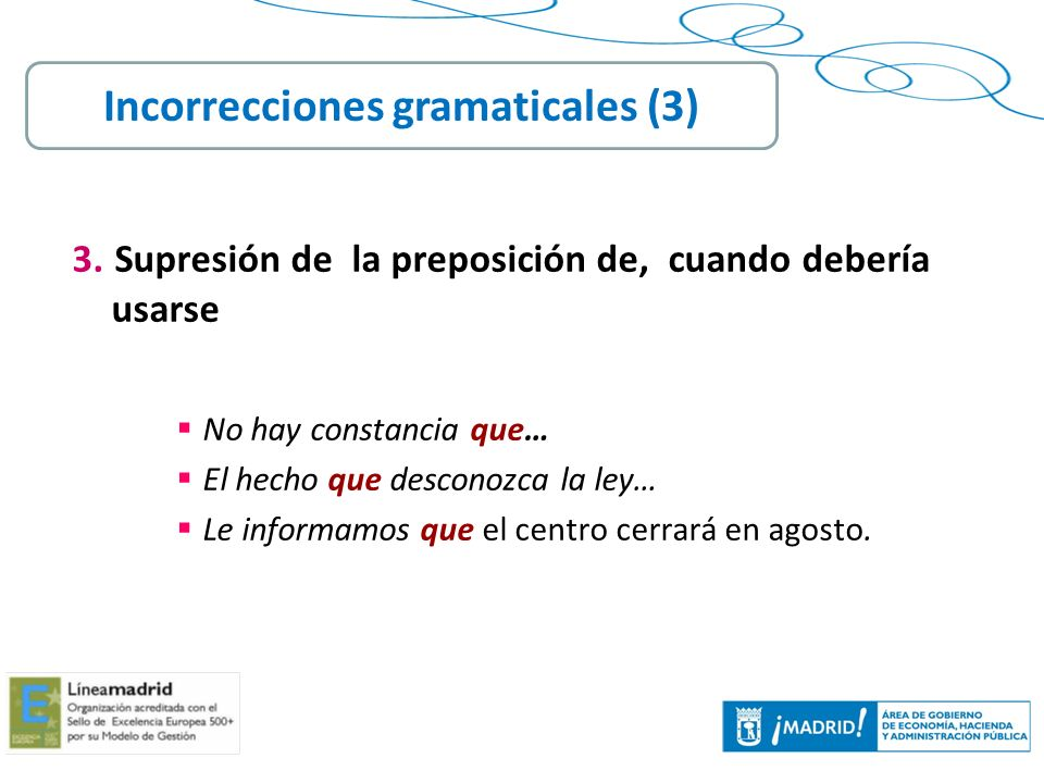 Incorrecciones gramaticales (3)