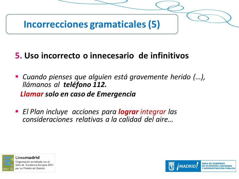 Incorrecciones gramaticales (5)