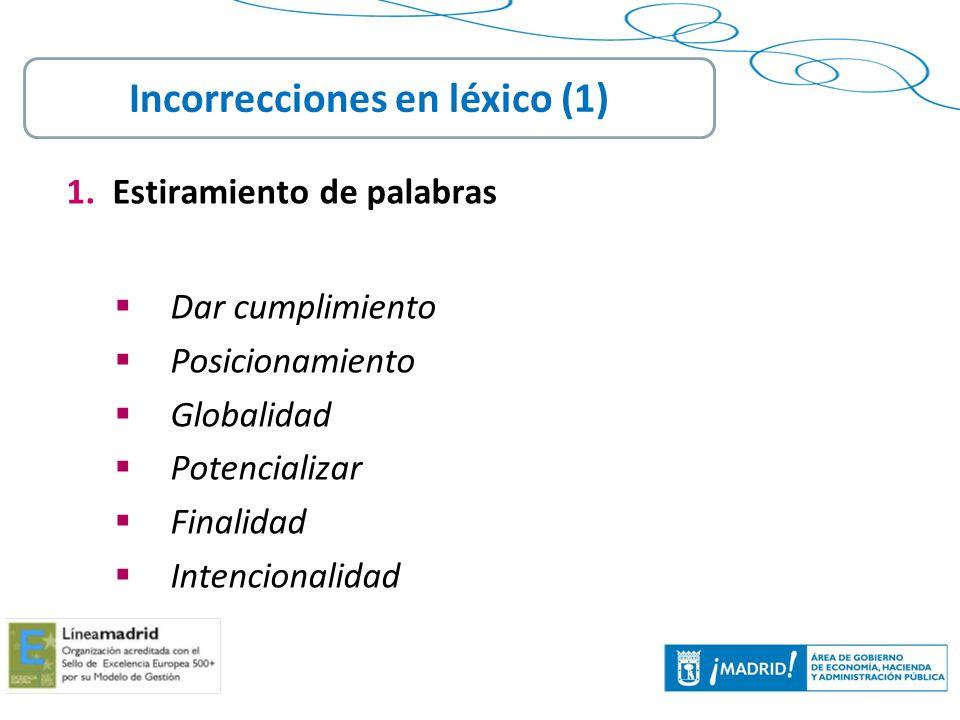 Incorrecciones en léxico (1)
